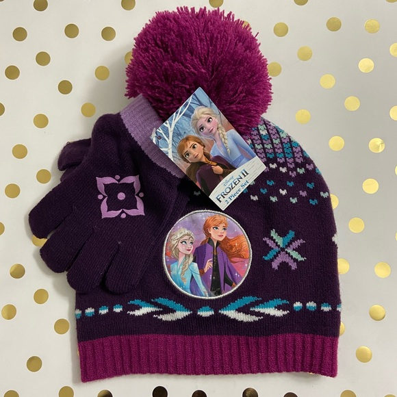 Disney Tinkerbell Knit Hat Cap Beanie and Gloves mittens pink 2 pieces set new